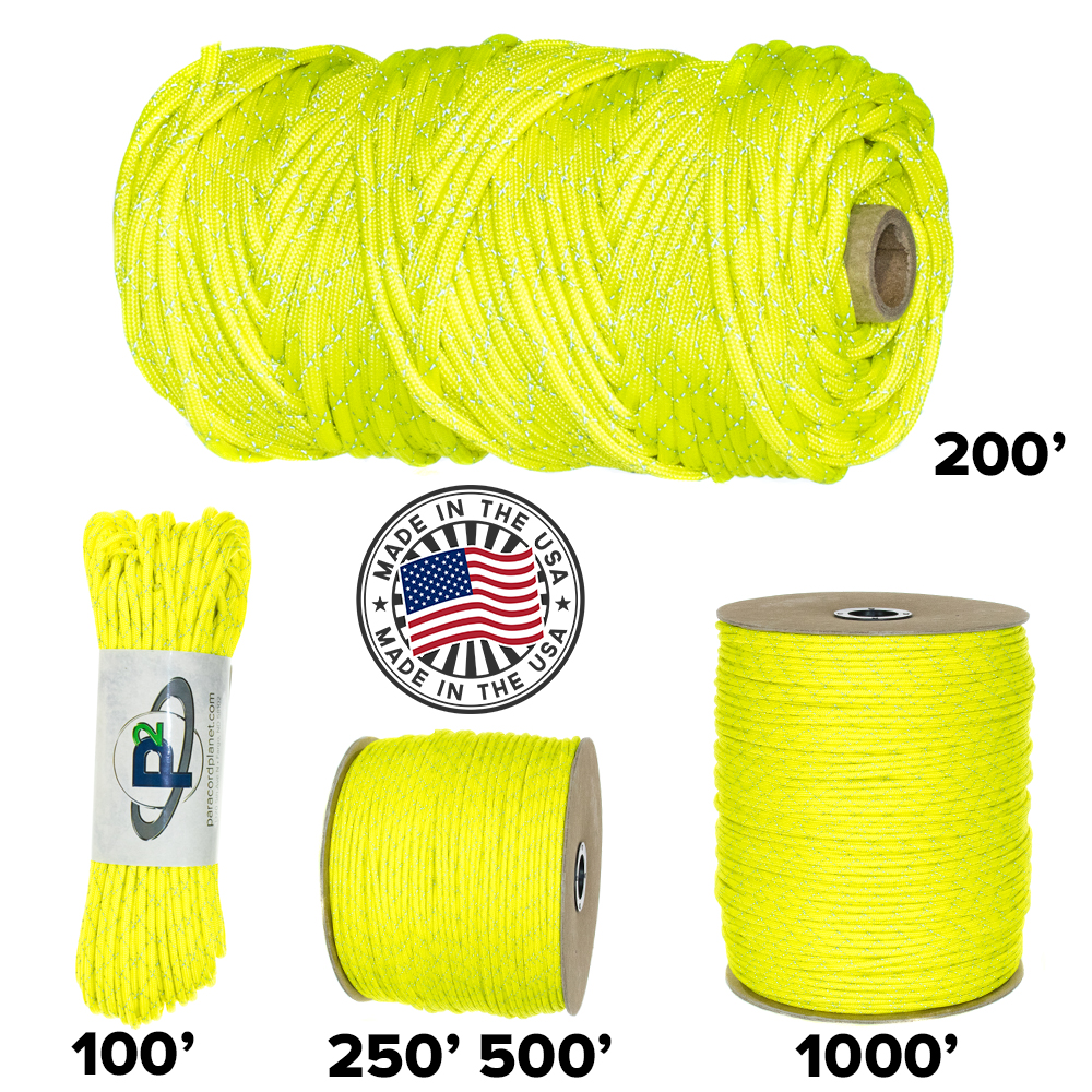 100/% Nylon Cord is Made in The USA PARACORD PLANET 700lb Criss Cross Double-Reflective Paracord 2 Bright Retro-Reflective Tracers for The Best in High-Visibility Cord