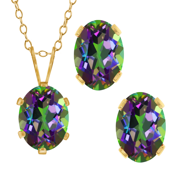 3.50 Ct Oval Green Mystic Topaz Gold Plated Silver Pendant Earrings Set
