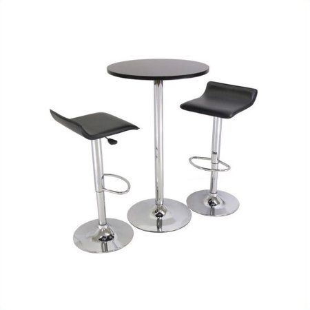 Pemberly Row Backless 3 Piece Pub Set in Black & Chrome Finish (Point Black Chrome 3 Piece)