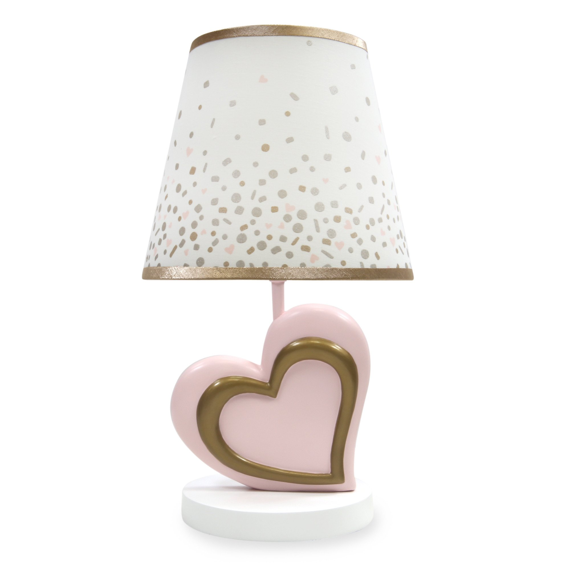 Lambs & Ivy Pink & Metallic Gold Heart Nursery Lamp with Shade & Bulb by Lambs & Ivy