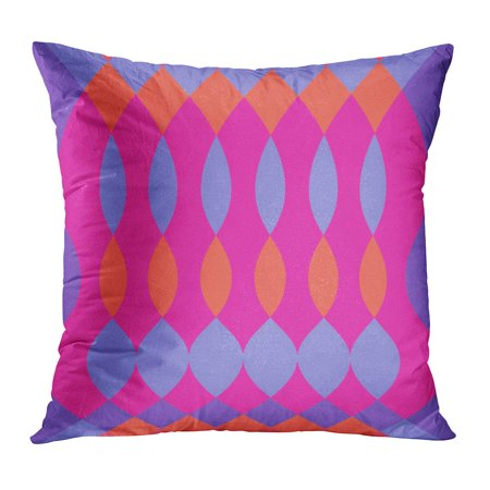 ECCOT Color Abstract Colorful Psychedelic Pattern Oval and Diamond Shapes Fuschia Purple Orange Creative Funky Pillowcase Pillow Cover Cushion Case 20x20 inch ()