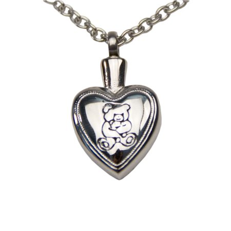 - Stainless Steel Memorial Keepsake Necklace For Loss Of Loved One - Extra Small 1 Pounds -  Silver Teddy Bear Heart