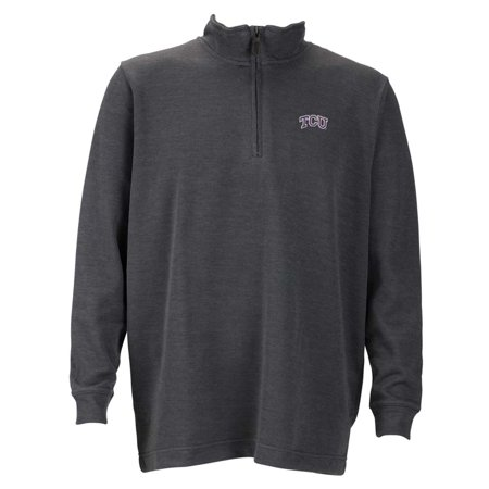 Tcu Mens 1 4 Zip Flat Back Rib Pullover  Color  Grey