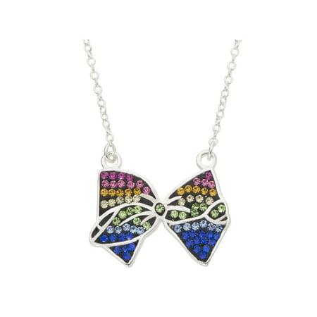 jojo siwa Brass Rainbow Crystal Bow Necklace 16