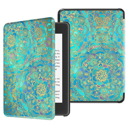 Fintie Slimshell Case for All-new Kindle Paperwhite 10th Gen 2018 Release, PU Leather Cover w/ Sleep/Wake, Shads of Blue ()