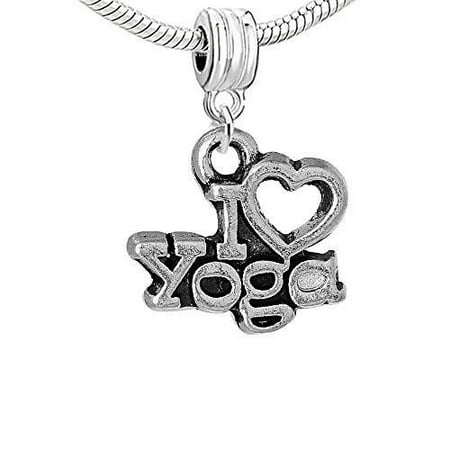 I Love Yoga Dangle Charm Bead for European Snake Chain Charm Bracelet (Yoga Charms)