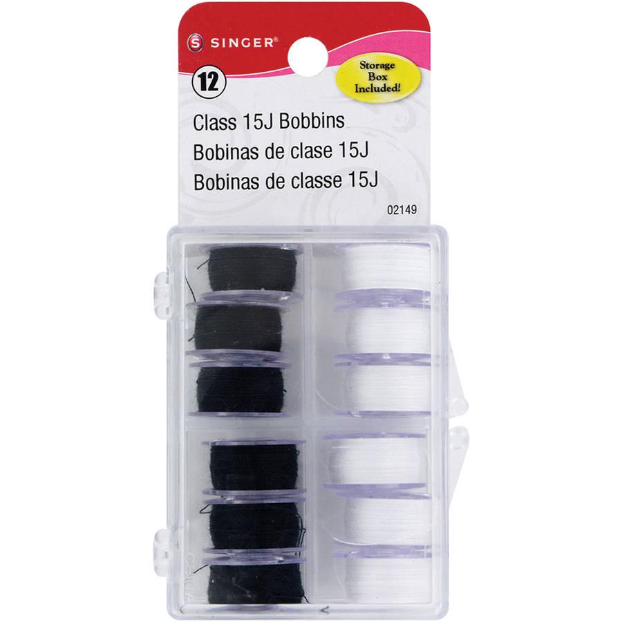 Transparent Plastic Class 15 Bobbins, Threaded In Case, Black and White, 12pk