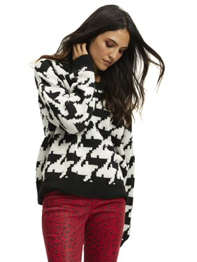 Scoop Houndstooth Crewneck Sweater Women's