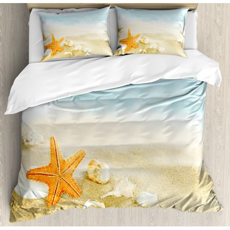 Starfish Duvet Cover Set, Tropical Caribbean Seacoast with Different Shells and Animals Relaxing Vacation, Decorative Bedding Set with Pillow Shams, Multicolor, by Ambesonne