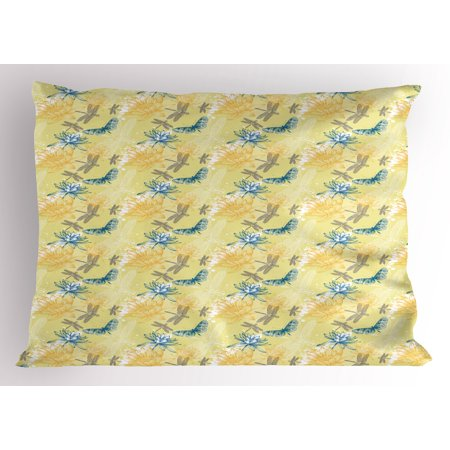 - Dragonfly Pillow Sham Water Lilies and Flying Insects in Artistic Vintage Style Exotic Fauna, Decorative Standard Size Printed Pillowcase, 26 X 20 Inches, Pale Yellow Blue, by Ambesonne