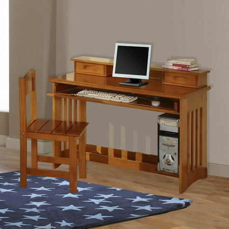American Furniture Classics Model 2168 Solid Pine Student Desk With Hutch And Chair In Honey
