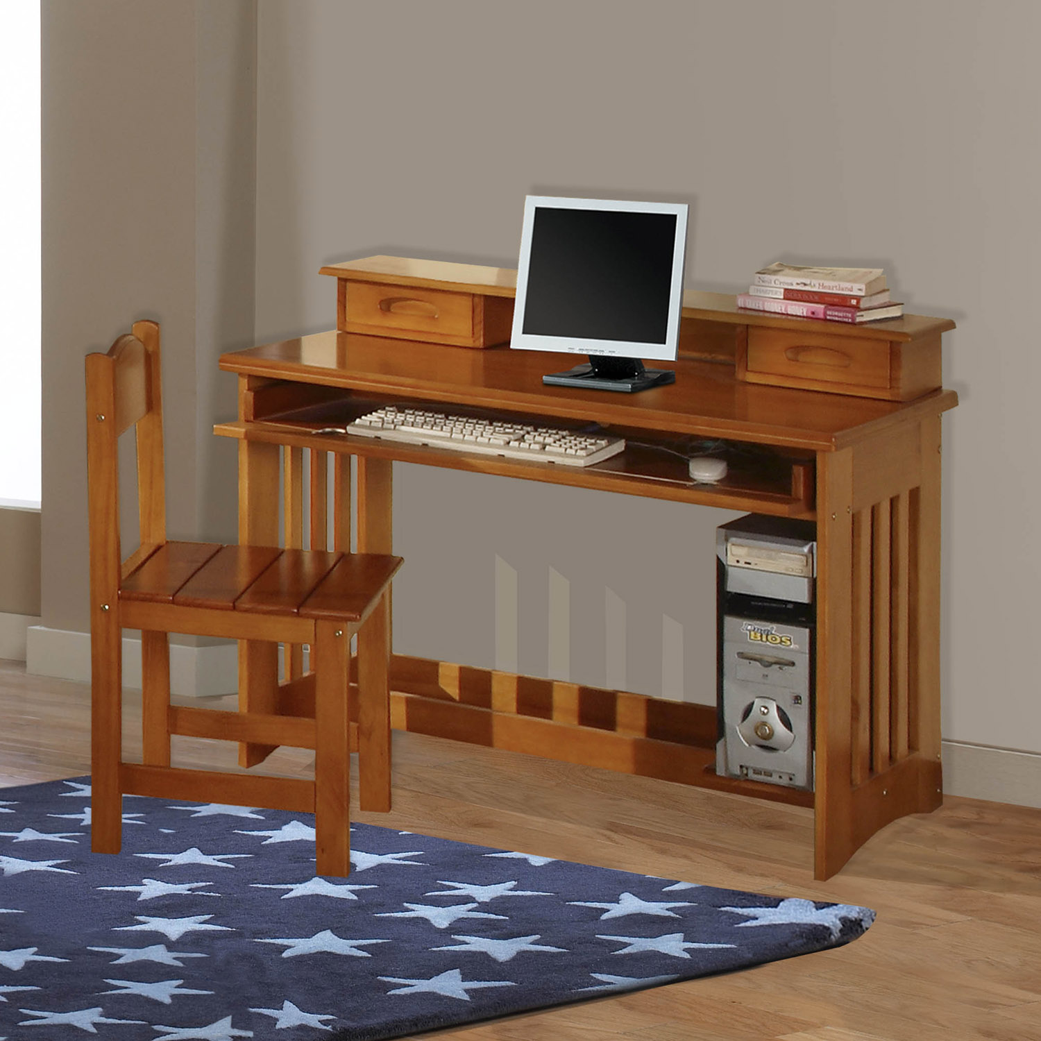 American Furniture Classics Model 2168, Solid Pine Student Desk with Hutch and Chair in Honey