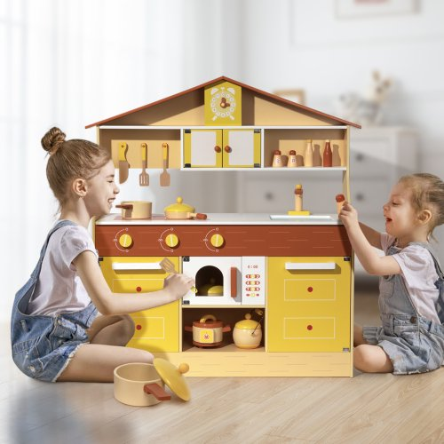 Wooden Kitchen Playset For Kids Toddlers Play Kitchen Set Toy Gift For Boys And Girls Walmart Com Walmart Com
