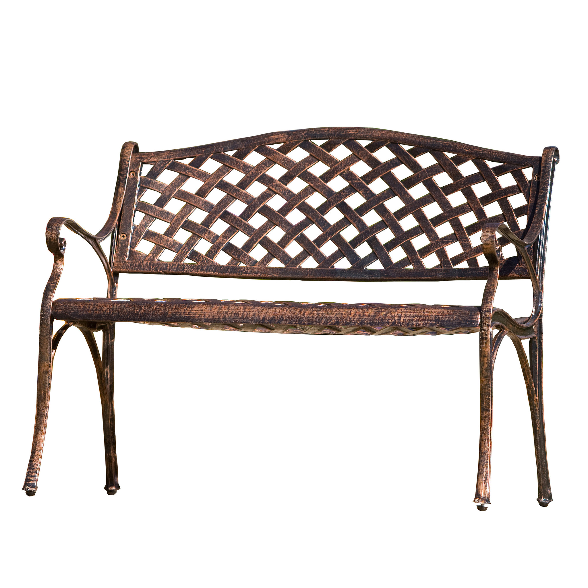 Noble House La Paz Antique Copper Cast Aluminum Bench