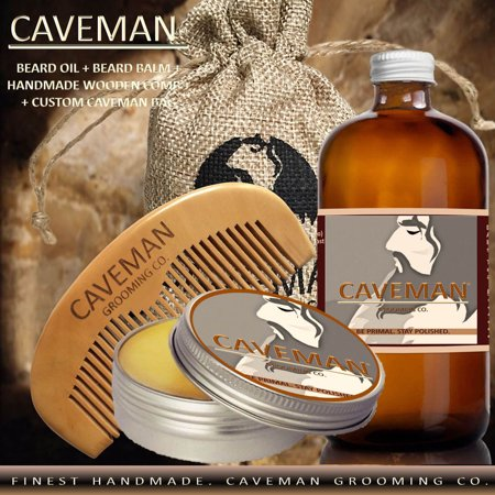 Hand Crafted Caveman Beard Oil Conditioner + Beard Balm + Custom Wood Comb + Custom Cave Bag, Scent: Straight Razor