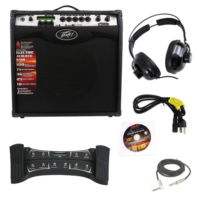 "Peavey Vypyr Vip3 Guitar Amp 12"" W/ Sanpera Ii Foot Controller Cable Headphones"
