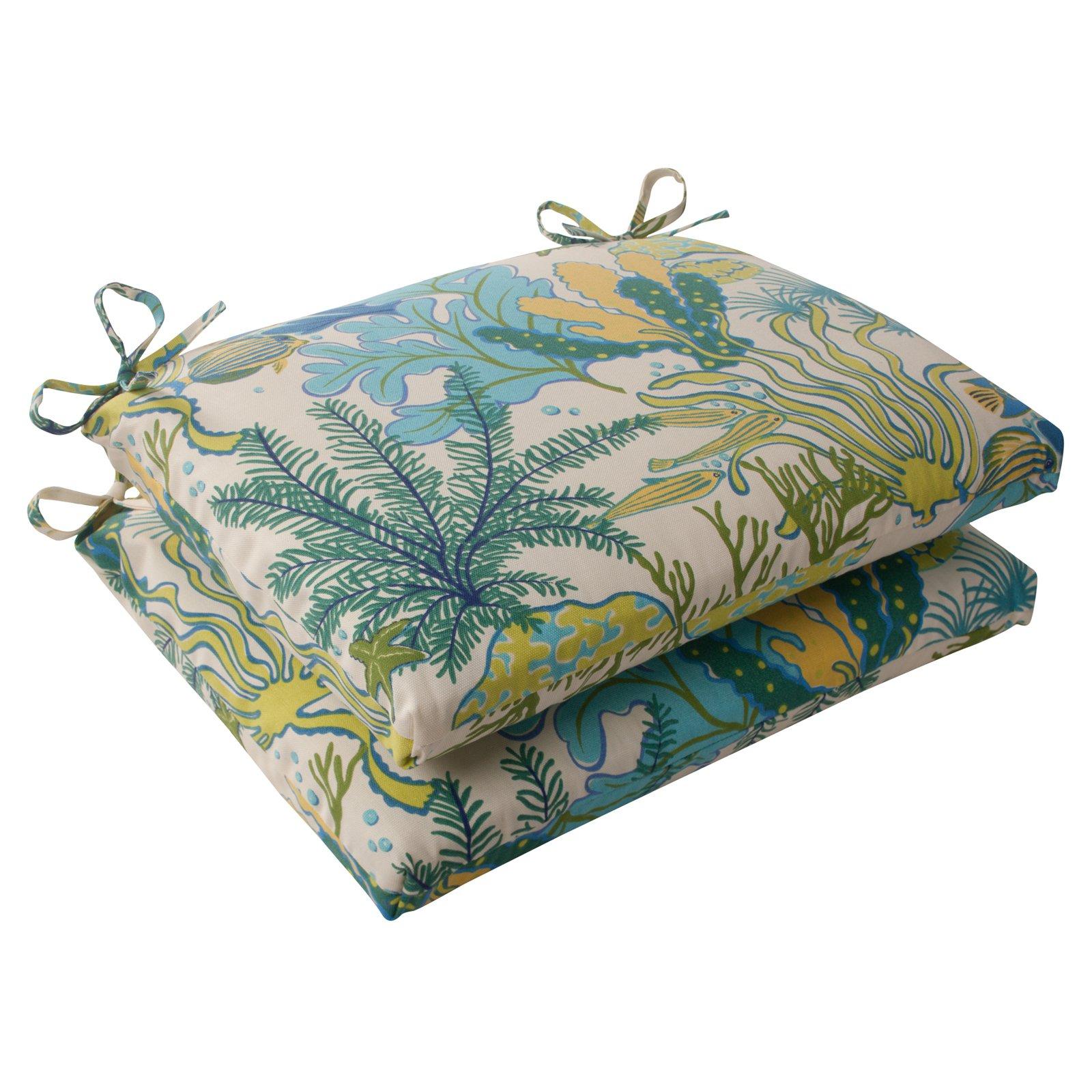Pillow Perfect Outdoor/ Indoor Splish Splash Blue Squared Corners Seat Cushion (Set