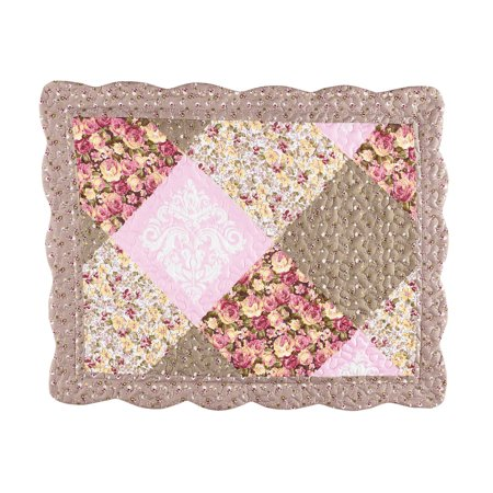 - Clara Floral Patchwork Pillow Sham, Diamond Patches with Quilted Stitching