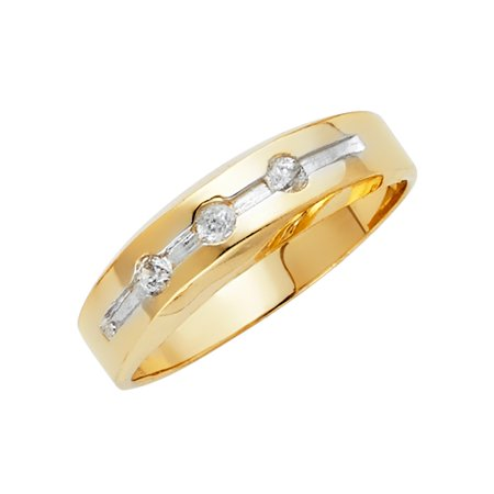 FB Jewels 14K White and Yellow Gold Ring Two Tone Cubic Zirconia CZ Mens Anniversary Wedding Band Size 5.5