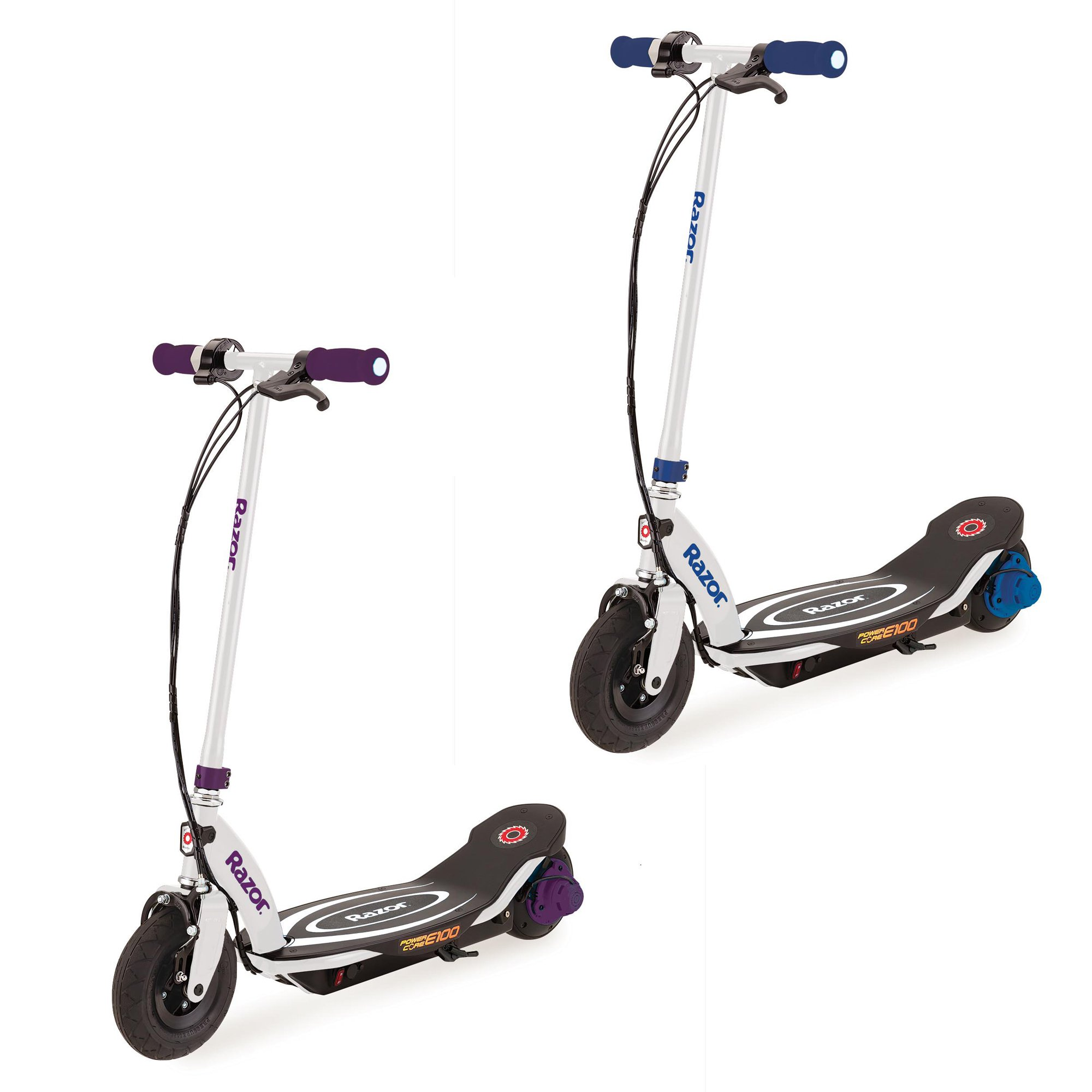 Razor Power Core E100 Electric Hub Motor Kids Toy Scooters, 1 Purple & 1 Blue