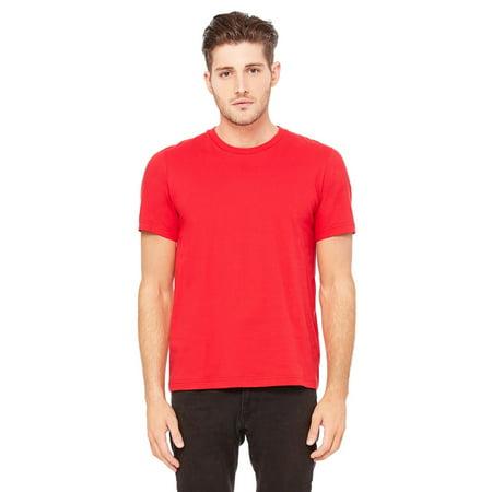 Branded Bella + Canvas Unisex Jersey Heavyweight 55 oz Crew T-Shirt - RED - XL (Instant Saving 5% &