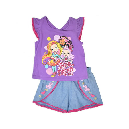 Sunny Day Toddler Girls' Flutter Sleeve T-shirt & Shorts, 2pc Outfit Set - Cute Girl St Patricks Day Outfits