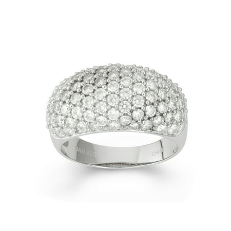 Sterling Silver Pave Dome - White Cubic Zirconia Sterling Silver Pave Graduated Dome Ring