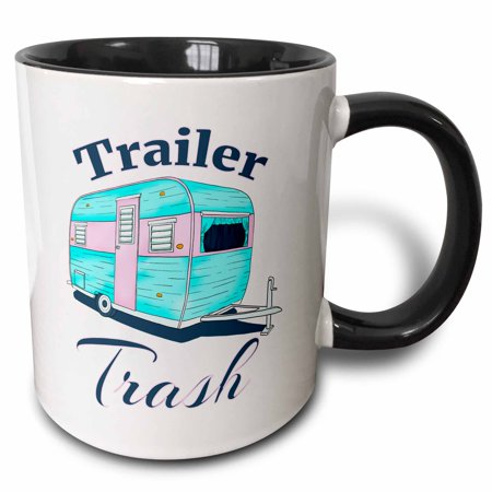 Trailer Trash Halloween Ideas (3dRose Funny camping Trailer Trash for all who love to camp and RV. - Two Tone Black Mug,)
