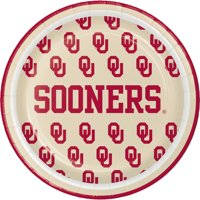 University of Oklahoma Round Paper Dessert Plates 8 Count for 8 Guests