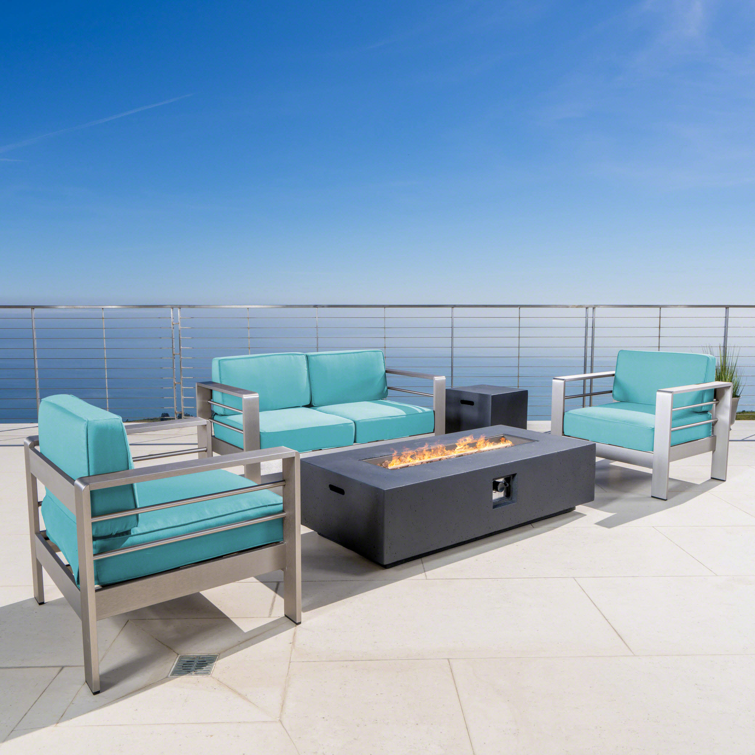 Cybele Doris Outdoor 5 Piece Aluminum Chat Set with Sunbrella Cushions and Dark Grey Fire Pit, Canvas Aruba