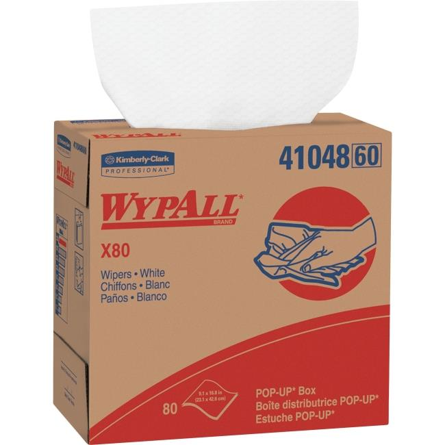 Kimberly Clark KCC41048CT WypAll X80 Wipers Pop-up Box - 80 Per Box, White