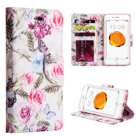 Insten Rose Aroma Trendy Leather Flip Credit Card Wallet Stand Case For Apple iPhone 8 Plus / iPhone 7 Plus -