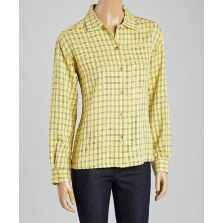 Yellow And Black Plaid Brushed Twill Button Front Shirt (Style# 5045)