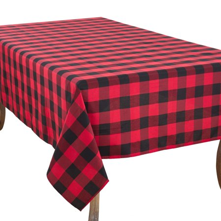 Red Plaid Tablecloth (Saro Lifestyle Buffalo Plaid Design Cotton Blend)