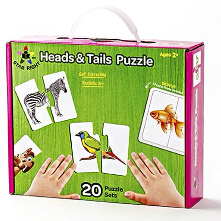 Star Right Self-Correcting Heads & Tails Animal Match Puzzle with Realistic Art, Set of 20 (40 pieces) with 1 Puzzle Frame Included - image 1 of 3