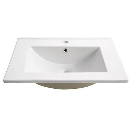 Fresca Torino Ceramic Rectangular Drop-In Bathroom Sink with Overflow