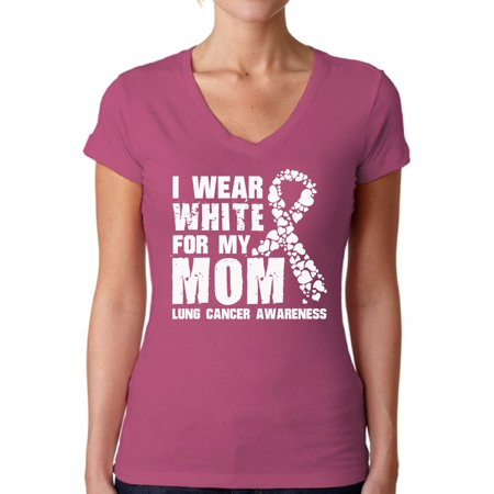 Awkward Styles Women's I Wear White for My Mom V-neck T-shirt Lung Cancer Awareness - Lung Cancer Awareness Color