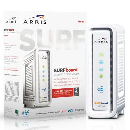 ARRIS SURFboard SB6190 (32x8) Cable Modem, DOCSIS 3.0 | Certified for XFINITY by Comcast, Spectrum, Time Warner, Cox & more | 1.4 Gbps Max Speed | (Best Docsis 3.0 Cable Modem For Cox)
