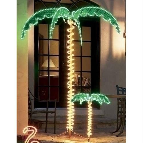 7' Tropical Lighted Holographic Rope Light Outdoor Palm Tree Yard Decoration