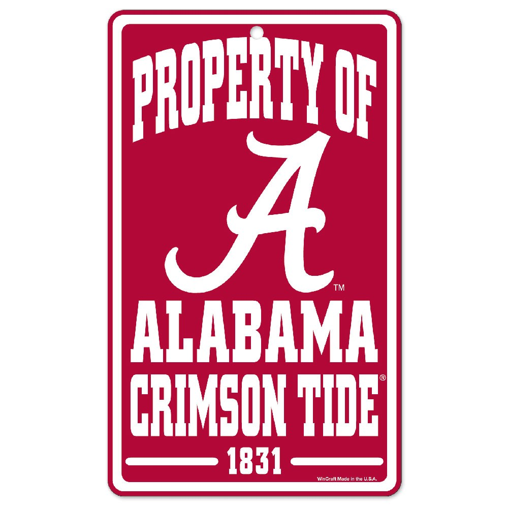 Alabama Crimson Tide Official NCAA 7 inch x 12 inch  Property Of Sign by WinCraft
