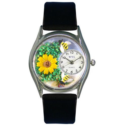 Whimsical Watches Women's Sunflower Black Leather and Silvertone Watch in Silver