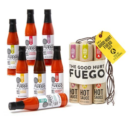 The Good Hurt Fuego: Sampler Pack of 7 Different Hot Sauces Inspired by Exotic Flavors and Peppers from Around the World - A Hot Sauce Lover's Gift