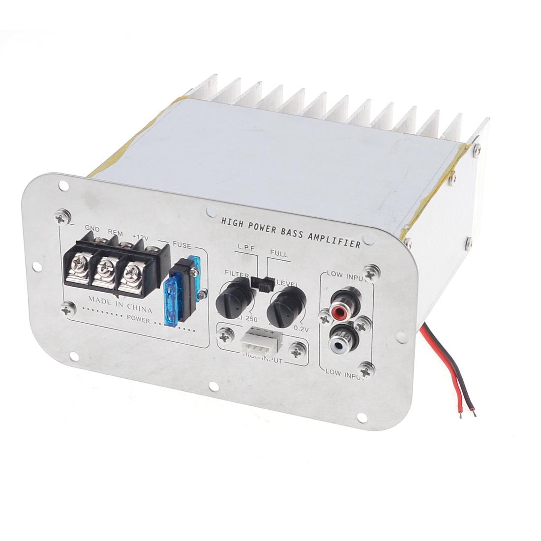 Unique Bargains Car Aluminum Casing LFE Hi-Fi Audio Stereo Power Amplifier Board Silver Tone