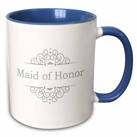 3dRose Maid of Honor of the Wedding in silver gray part of matching marriage party ceremony set grey swirls - Two Tone Blue Mug,