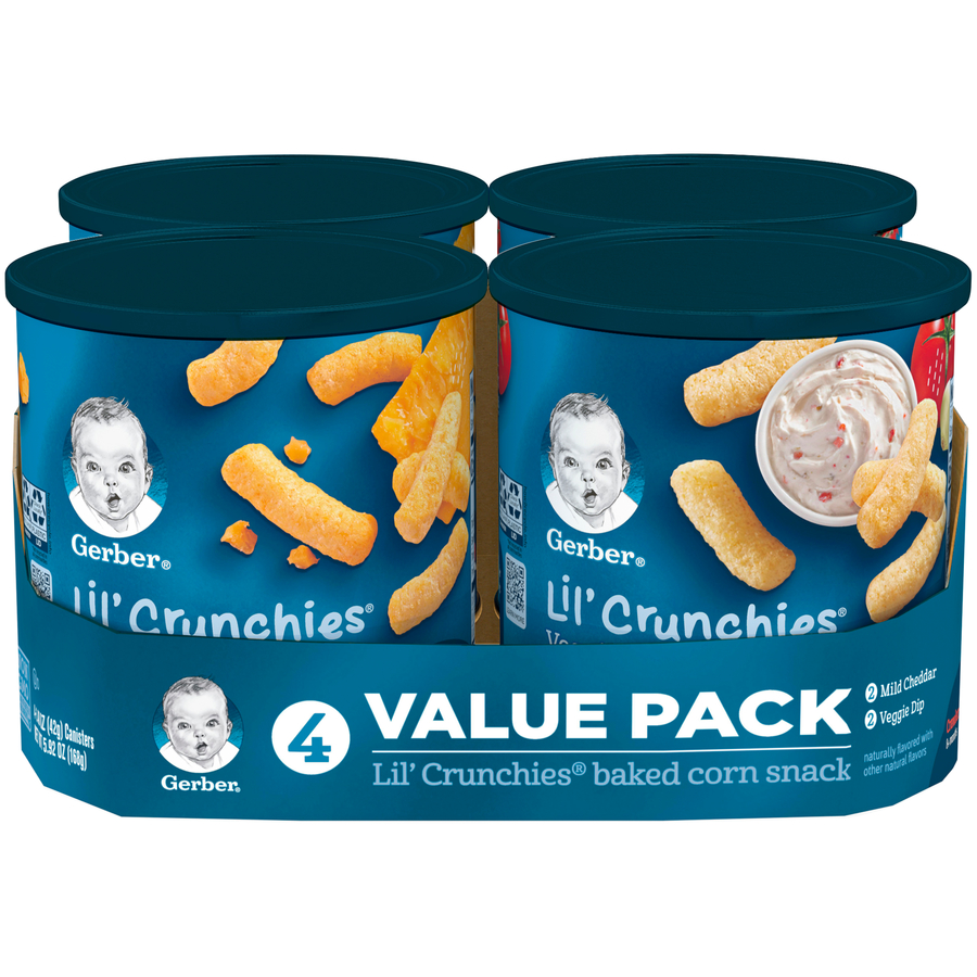 Gerber Lil' Crunchies Variety Pack, Mild Cheddar & Veggie Dip, 1.48 oz Canisters, 4 Count (Pack of 2)