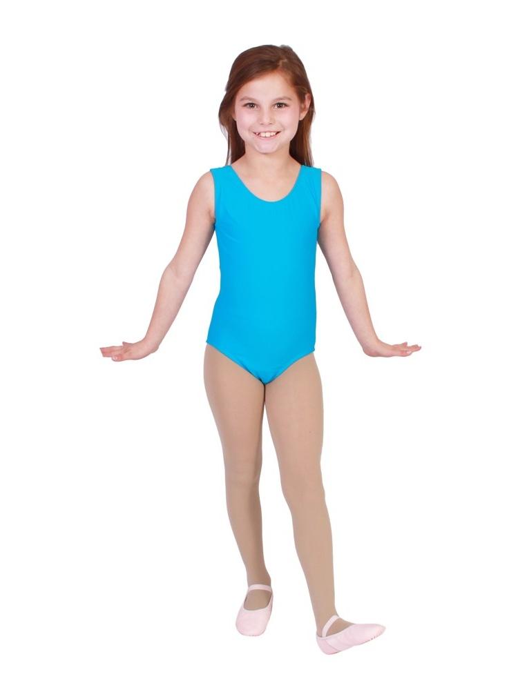 Girls Turquoise Full Front Lining Tank Dancewear Leotard