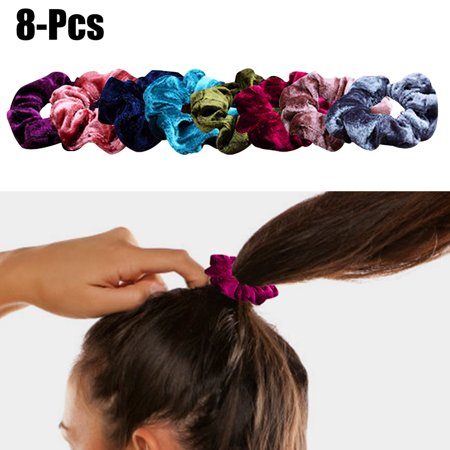 8PCS Hair Scrunchies, Aniwon Soft Elastic Velvet No Damage Traceless Pleuche Hair Ropes Hair Ties for Women Girls Kids
