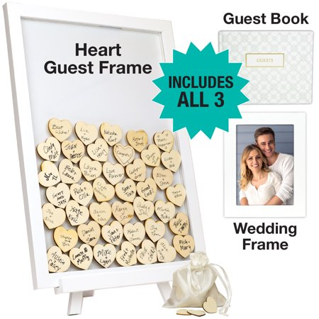 Wedding Guest Drop Top Frame Wedding Guest Book Alternaitve With 70 Blank Wooden Hearts, a Traditional Guest Book, Picture Frame, and Display Easel (WHITE) (Wedding Guest Book Platter)