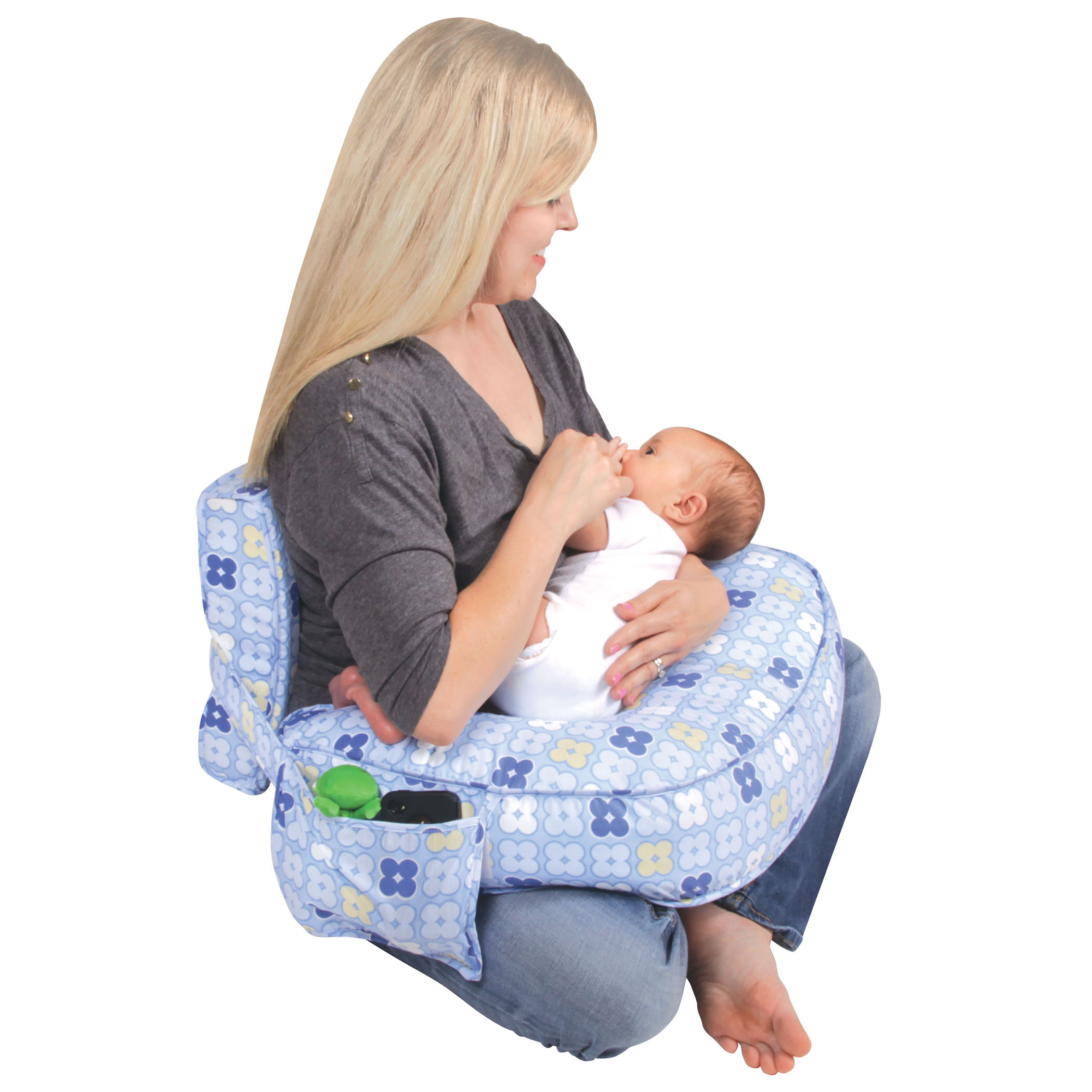 Leachco Ease Back Nursing Pillow with Back Support, Blue 4 Squares