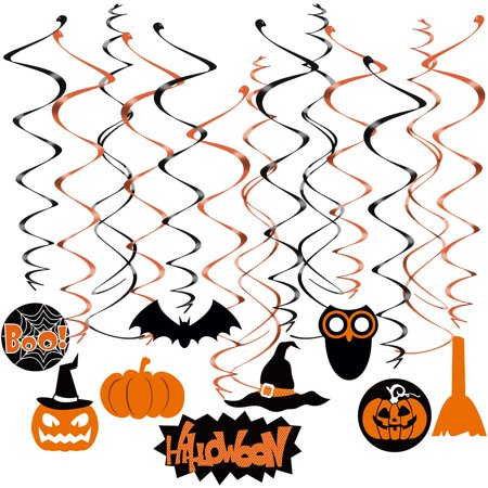 TINKSKY 29pcs Halloween Swirl Hanging Dizzy Dangler Foil Hanging Decoration for Halloween Party Supplies (20pcs Swirl Hanging with Pendant + 10pcs Cross Swirl Hanging)